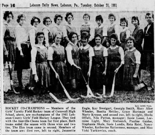 Cornwall High Girls Field Hockey Co Champions X Newspapers Com