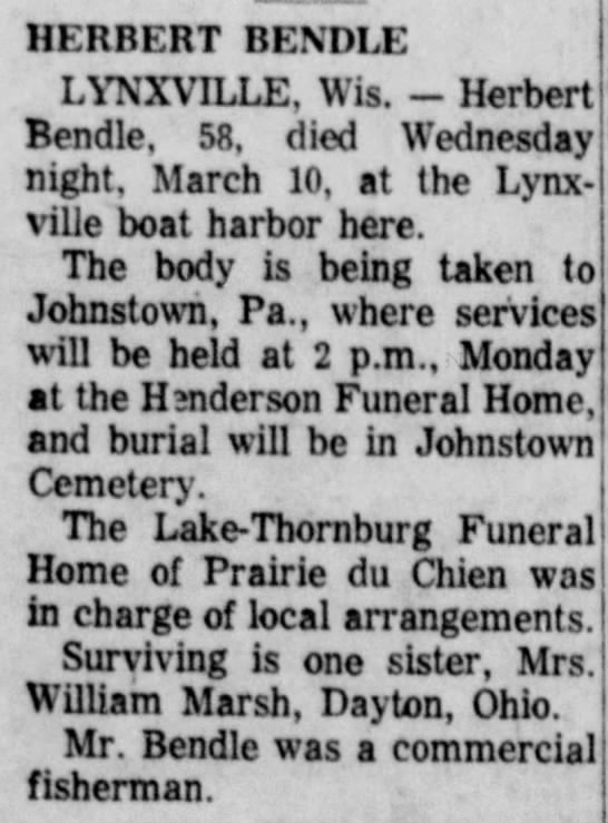 BENDLE , Herbert obit with sister and interment. march 1965 -