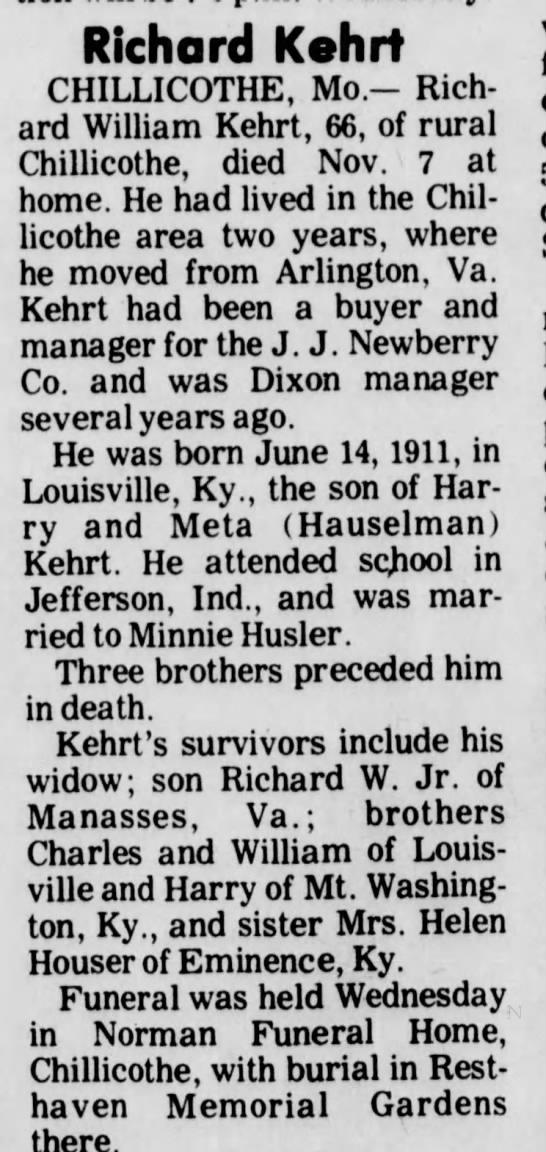 Richard W Kehrt obit Dixon, Illinois paper -