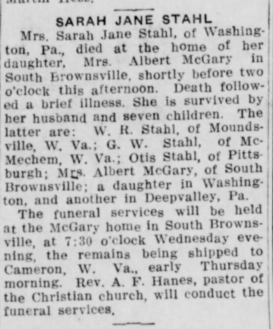 Sarah Jane Gray Stahl obit 1914 -