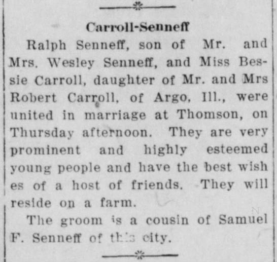 Ralph Senneff married Bessie (Dee?) in January 1914 -