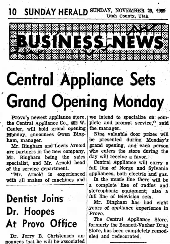 Arnold, Lewis opens appliance store - 10 SUNDAY HFRAI D SUNDAY, NOVEMBER 29, - iw...