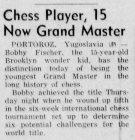 Chess Player, 15, Now Grand Master -
