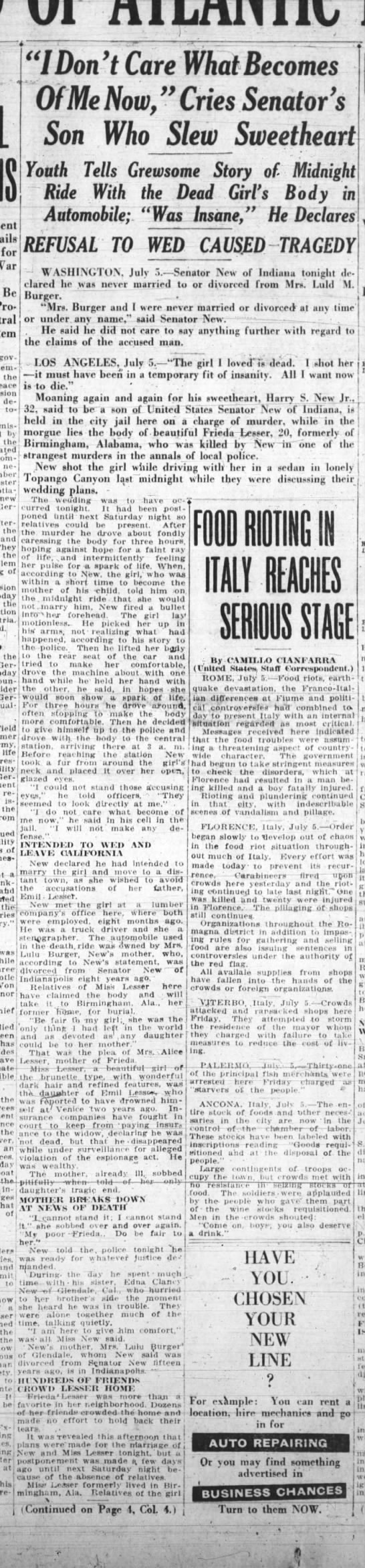 Harry S New Sr refuses to discuss Oakland Tribute, CA 6 Jul 1919, pg17 -