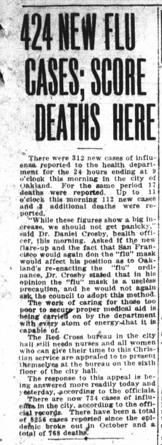 424 New Flu Cases Reported  Jan 11, 1919 -