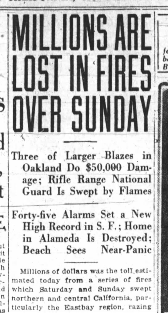 Millions are lost in Fires over Sunday, July 03, 1921. -