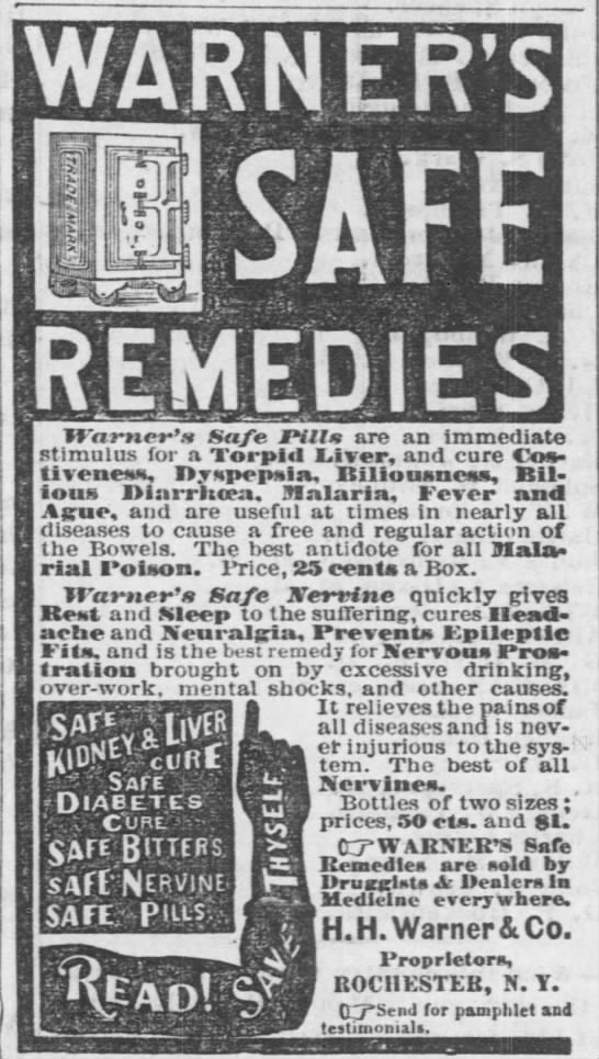 1879 Safe Remedies Ad - La Plata Home Press (La Plata, MO) - 29 Nov 1879 -