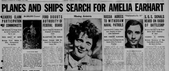 Headline for search effort for Amelia Earhart -