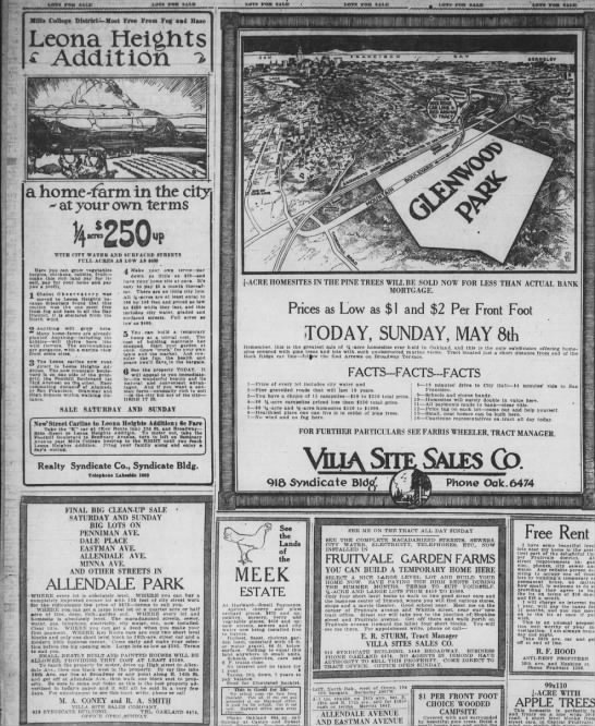 Villa Site Sales  Tracts May 1921 -