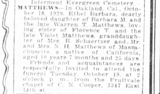 Death of daughter of Barbara & Warren T. Matthews - 1920 -