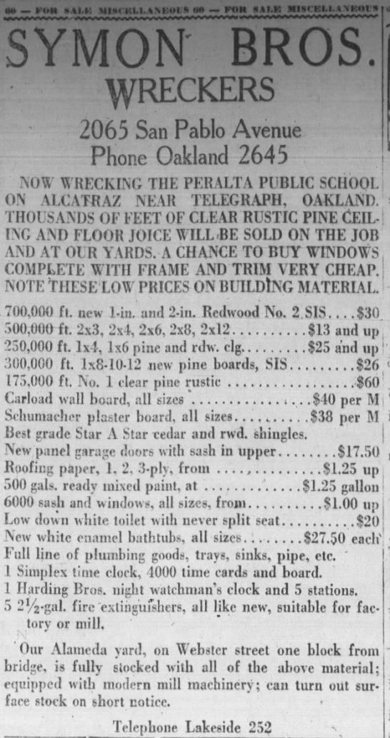 Symon Bros. Wrecking the Old Peralta School. June 25, 1922 -