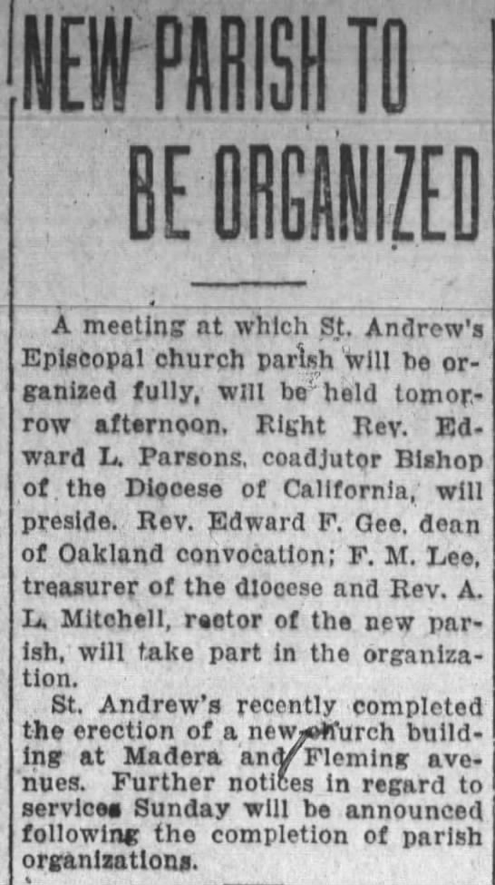 new St. Andrew's Episcopal to be organized -