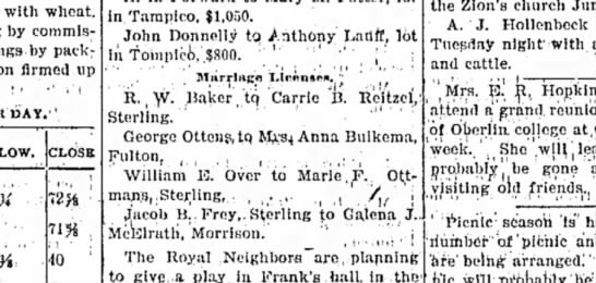 George Ottens Marriage to Anna Buikema, Sterling Standard (Sterling, Illinois), 8 June 1900, Page 6 -