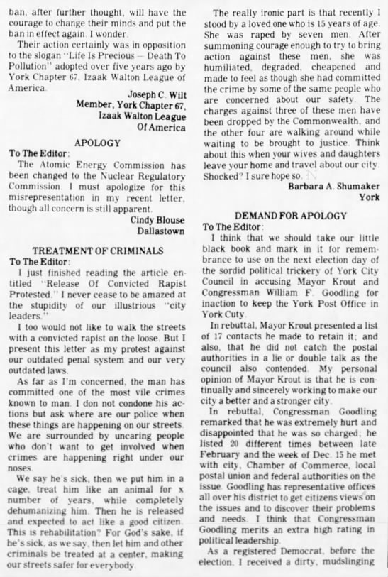 "12 Jan 1976 Barbara A Shumaker Letter to Editor ""Treatment of Criminals"" -"