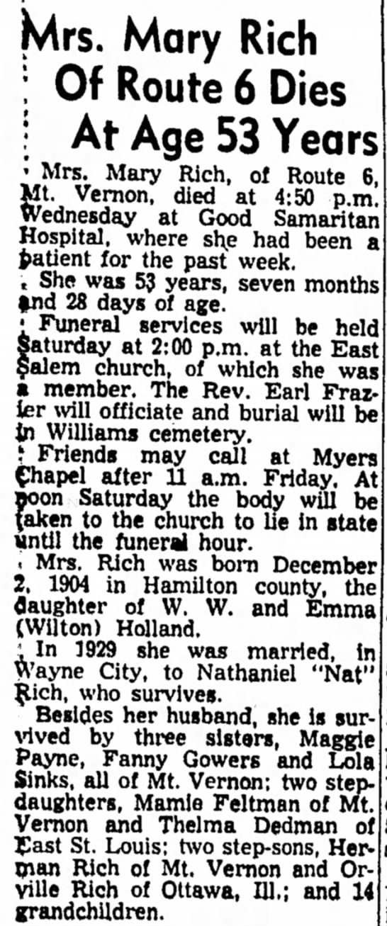 Mary (Holland) Rich obit - 31 Jul 1958 - Mrs. Mary Rich : Of Route 6 Dies : At Age 53...