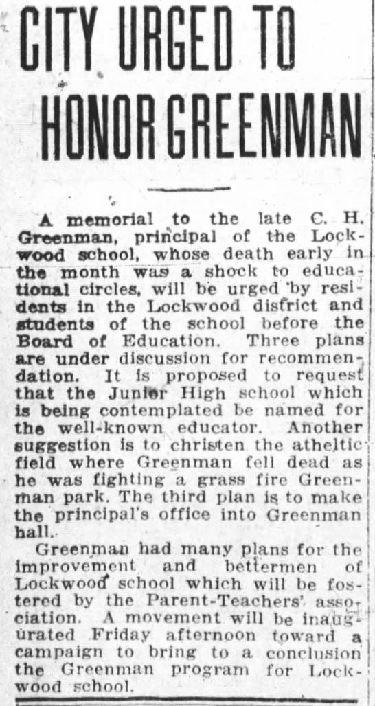 city urged to honor C.H. Greenman -