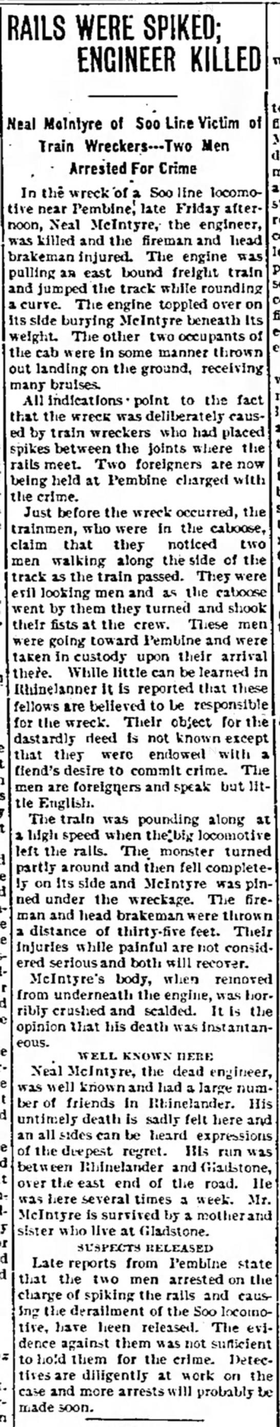 1909 Pembine, WI train wreck -