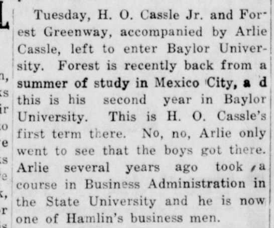 Carl Forrest Greenway - Baylor College - studied in Mexico City -