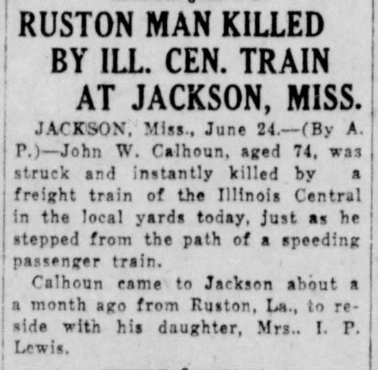 Death of John W. Calhoun -