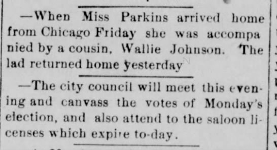 1890 Mar 5 Dixon Evening Telegraph, Illinois page 1 Miss Parkins -