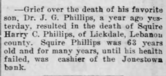 death of Harry C Phillips -