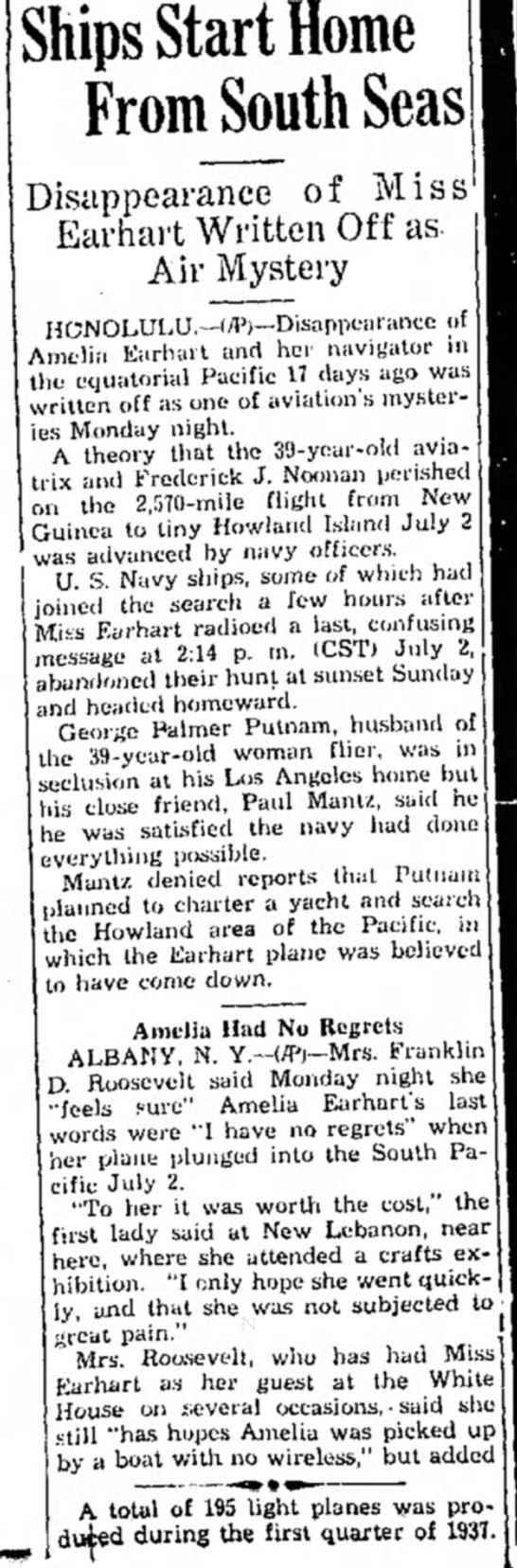 disapperance of miss earhart... part 1 - Ships Start Home From South Seas Disappearance...