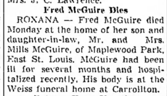 Fred McGuire Dies.Alton Evening Telegraph.3 July 1951,Tue.Page 3 -