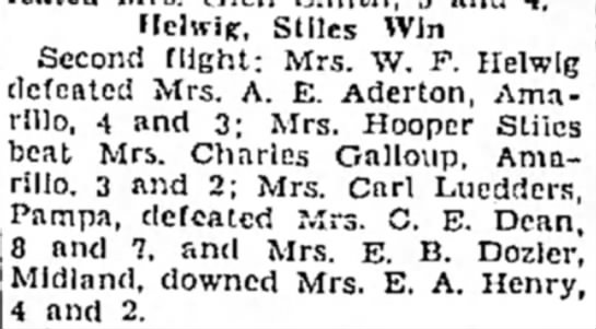 Carl Luedders wife - tennis tournament results. -