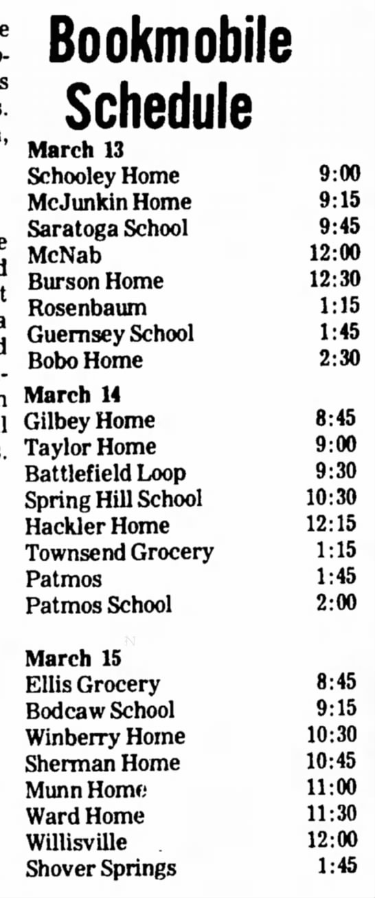 Winberry HS 10 Mar 1972 p3 - Bookmobile Schedule March 13 Schooley Home...