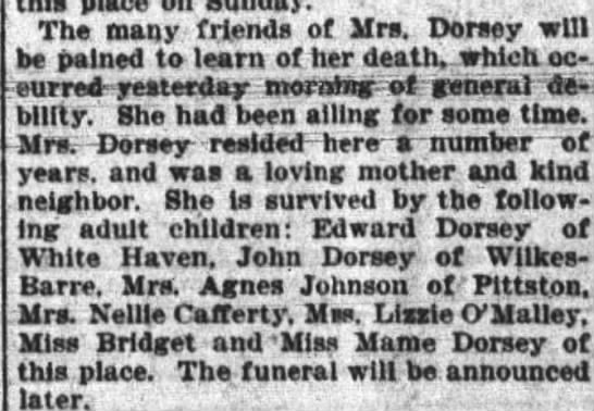 Obituary for Catherine Reilly-Dorsey (April 11,1899) -