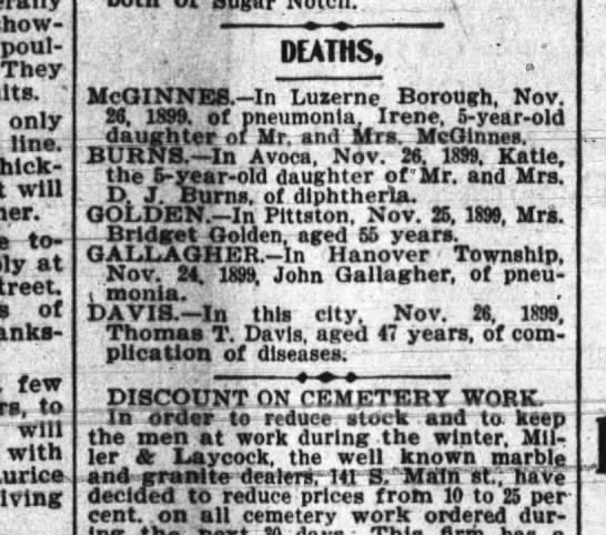 JOhn Gallagher Nov 1899 death - pneumonia -
