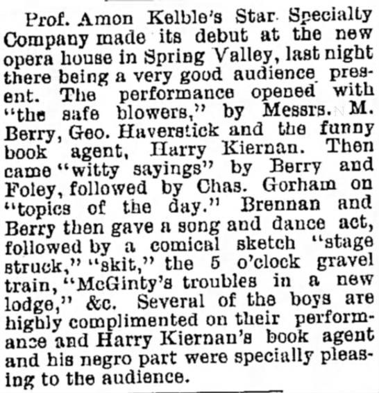 Amon Kelble's Opera Company? 25 Jan 1890 -