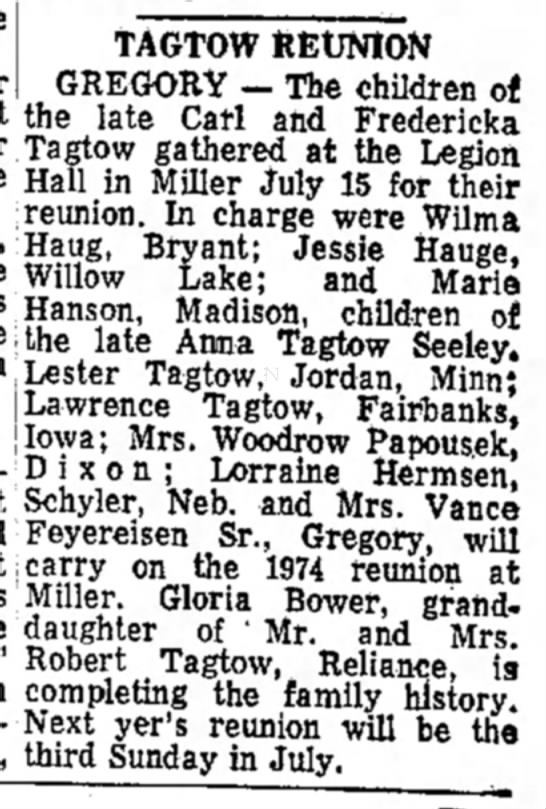 Carl and Friedericka Tagtow Daily Republic Mitchell SD 27 July 1973 family reunion -