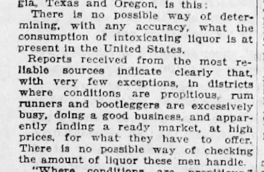 Observation on bootlegging and smuggling, 1922 -