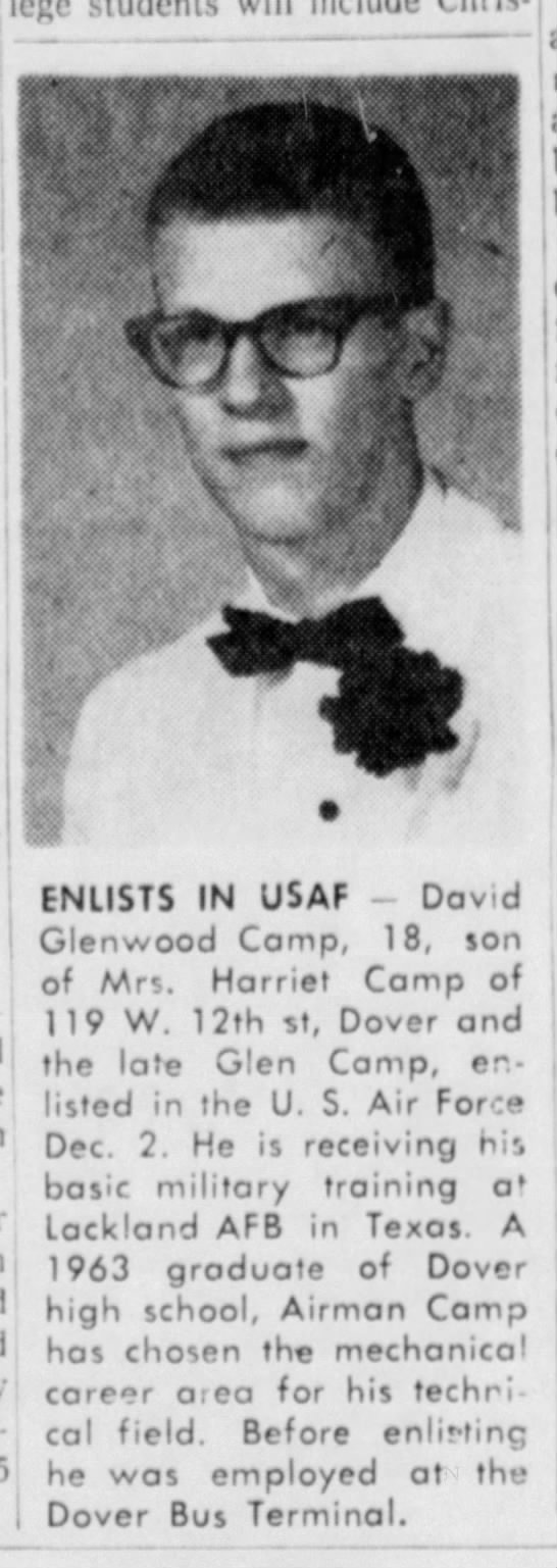 David Camp enlists in USAF 5 Dec 1963 -