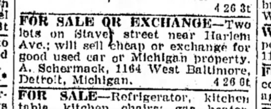 Schermack-Alfred-Henry Classified Ad for lots 26Apr1922 Freeport Journal-Standard IL -