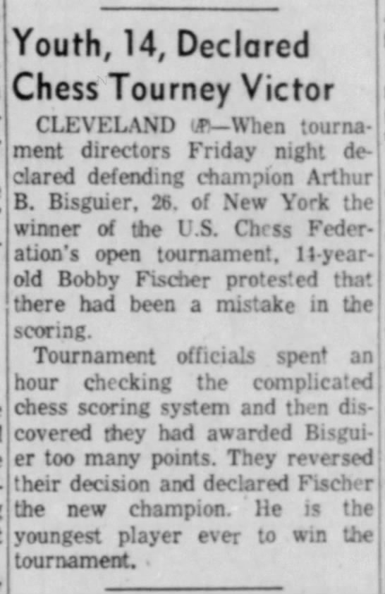 Youth, 14, Declared Chess Tourney Victor - ------------------------- Youth, 14, Declared...