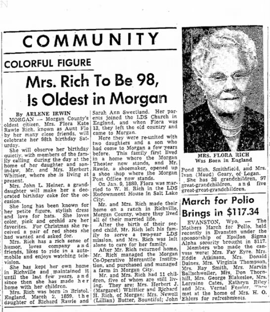 1957 Rich, Flora Kate Rawle turns 98 OSE 23 Feb p 10 -