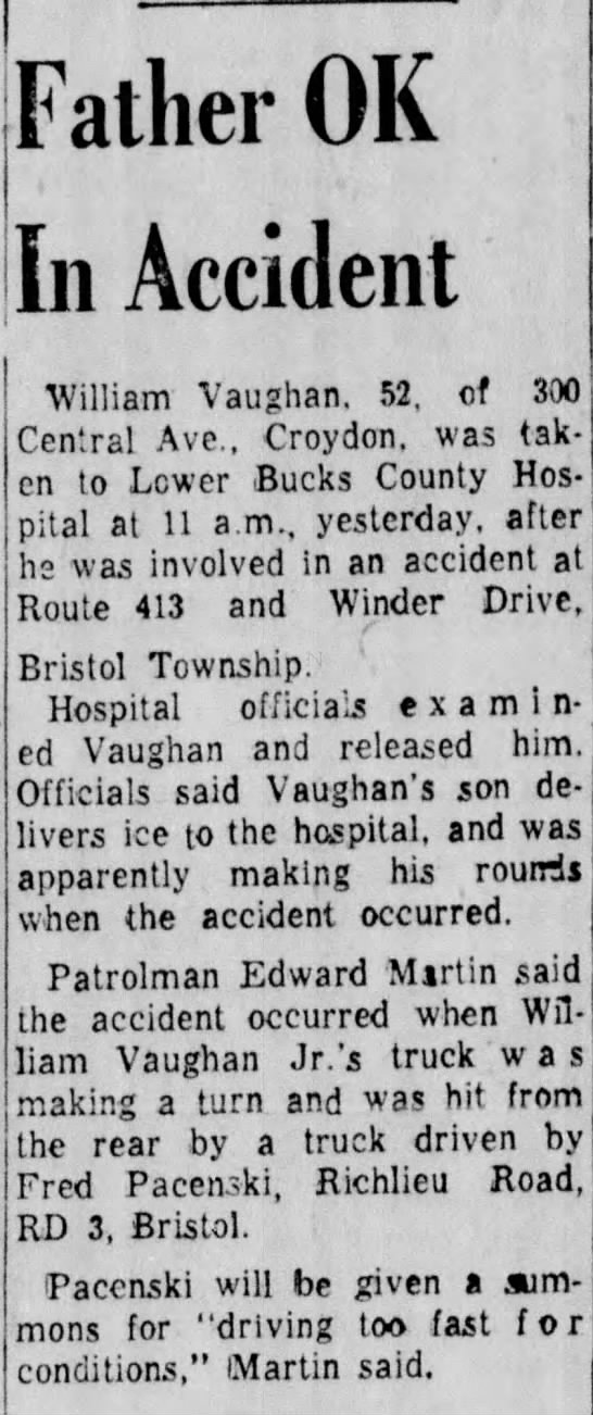 William Vaughan (1907-1969) Bristol Daily Courier - July 12, 1958