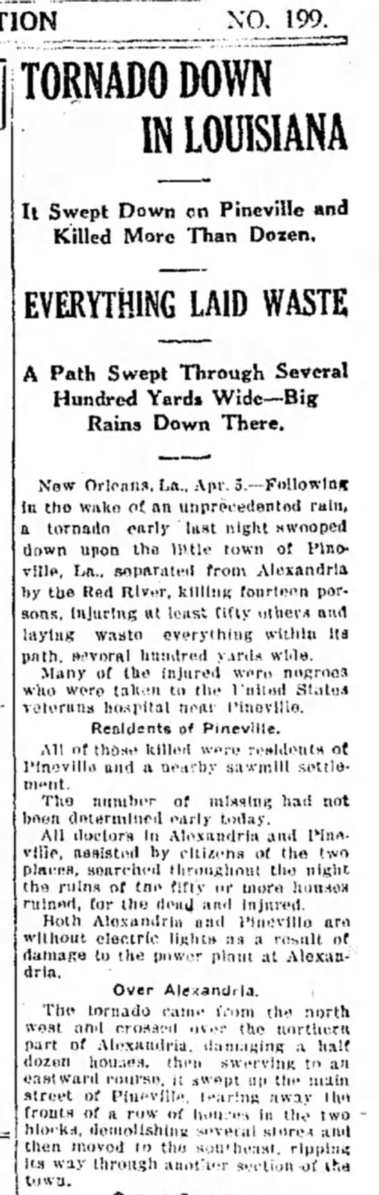 1923 Tornado in Alexandria and Pineville, LA. - Tom Malmay - NO. 199. TORNADO DOWN IN LOUISIANA It Swept...