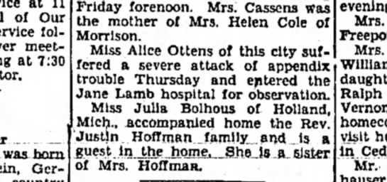 Alice Ottens, Sterling Daily Gazette (Sterling, Illinois), 1 November 1930, Page 8 -