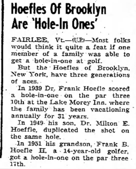 Hoefle's hole in one -