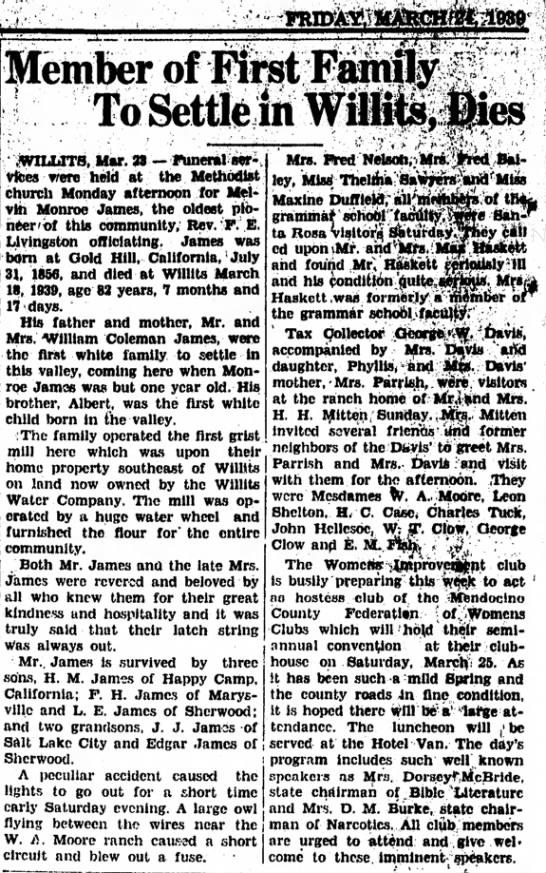 24 Mar 1939 Melvin Monroe James Obituary -