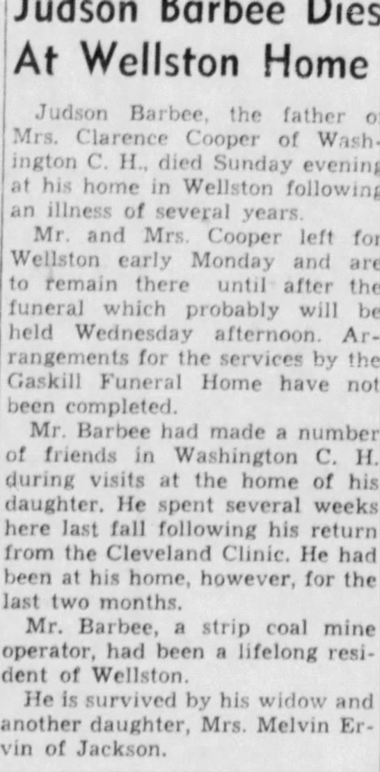 Washington C.H. Record-Herald (Washington Court House, Ohio)09 Jan 1950, MonPage 8 - completed. Jan. Barbee had made a number...