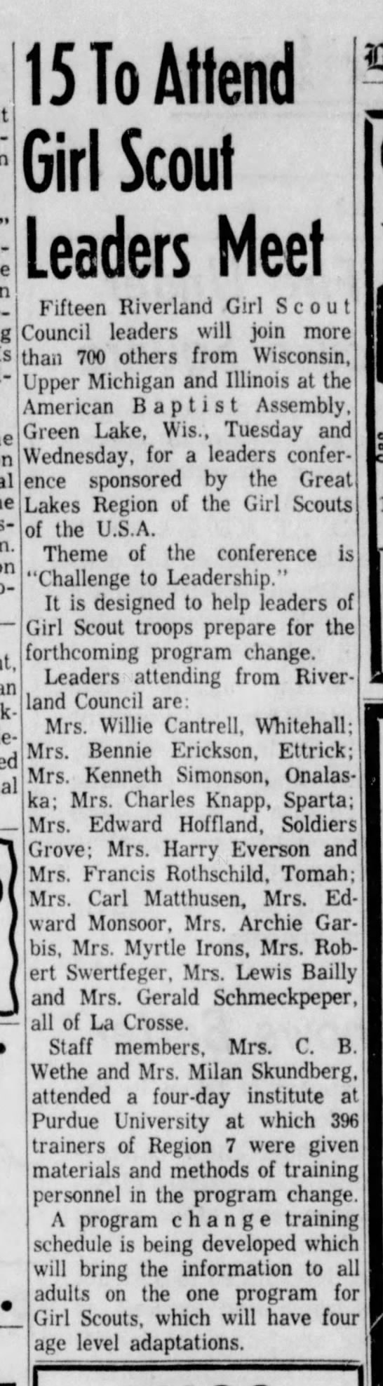 Bernice (Williams) Knapp at Girl Scout Leaders convention -