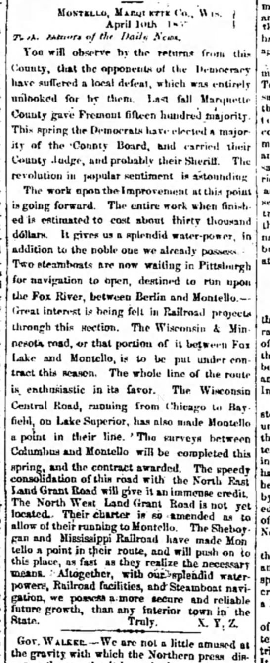 "daily milwaukee news april 14 1857 - \ I MoNTELt.0, MjtRgt KTTK April ll>th 1"" •' (..."
