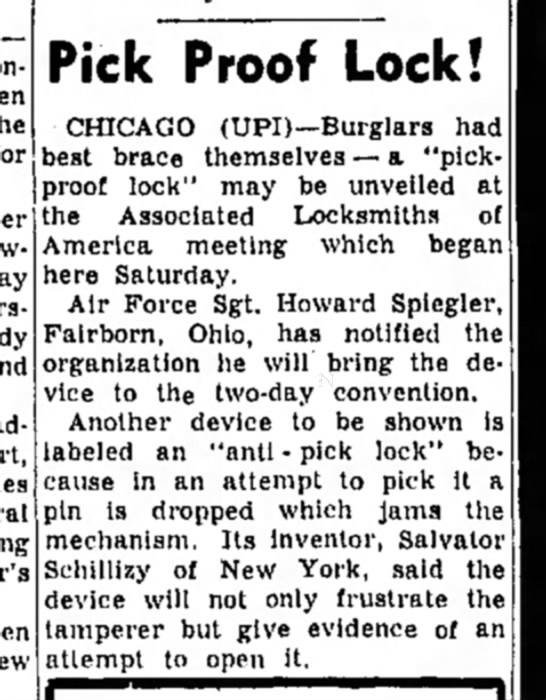 Pick Proof Lock Unveiled at 1958 National Convention of Associated Locksmiths of America -