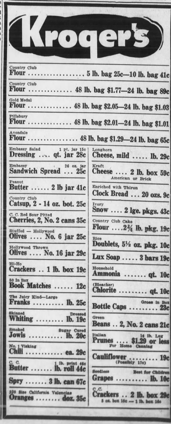 Kroger Ad in the Warrenton Banner - September 10, 1942