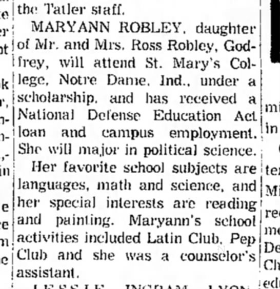 Mary Ann Robley, dtr. Ross Robley-scholarship-8 June 1963-p.3-Alton - tlw Taller staff, MARYANN ROBLEY. daughter of...