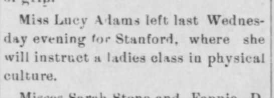 Aunt Lucy teaches in Stanford   4 May 1904 -